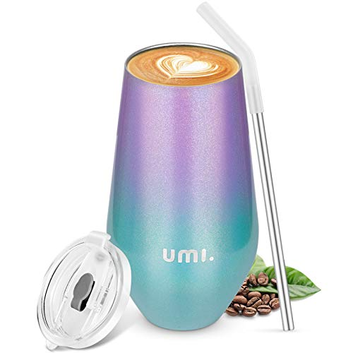 Umi. by Amazon - Termo Cafe 500ml, Botella Térmica Agua Acero Inoxidable con Aislamiento al Vacío, Reutilizable Copa de Vino o Café, Vaso Taza Té Regalos, sin BPA,Violeta & Verde