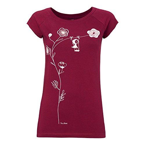 FellHerz Schaukelmädchen dunkelrot - XL - Damen T-Shirt aus 100% Bio-Baumwolle organic cotton fair alternativ nachhaltig öko Schaukel Blume Mädchen