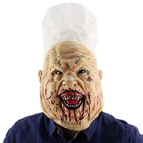 Lbellay Mscara sangrienta del Cocinero Loco Mscara de Terror Capucha de casa embrujada Sombrerera de ltex para la Bola de Disfraces de Halloween,Fresh