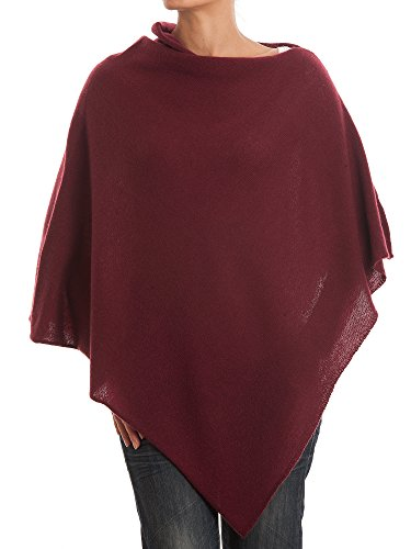 DALLE PIANE CASHMERE - Poncho 100% Cashmere - Made in Italy, Color: Bordeaux, One Size
