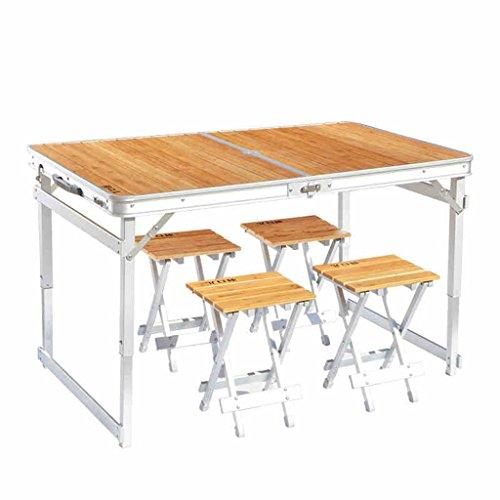 Hmvlw Mesa Plegable Mesa Plegable, Plegable de bambú Mesas y sillas de Exterior Portátil de aleación de Aluminio Plegable Mesa de Picnic Conjunto de Mesa de Barbacoa