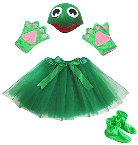 Petitebelle Snake Hat handschoenen rok schoen-meisjes-kinderen 4 stuks kostuum accessoires Eén maat groen