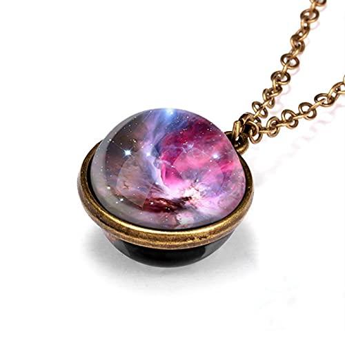 QDGERWGY Vintage Universo Galaxia Planeta Collar Que Brilla en la Oscuridad Bola de Cristal cósmica Colgante Collar Mujeres Luminoso Encanto joyería Regalos