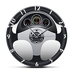 Wall Clock Sport Car Steering Wheel and Dashboard Printed Wall Clock Automobile Artwork Home Decor Automotive Drive Auto Style Wall Watch