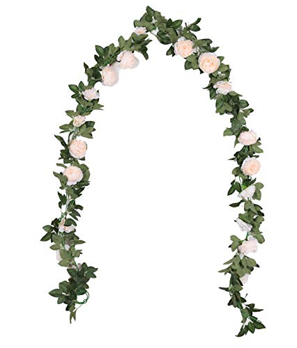 Duovlo 8.2Ft Artificial Peony Flower Garland Hanging Greenery Vine Silk Floral Vine Home Wedding Arch Wall Craft Arrangement Decorations,Pack of 2 (Champagne)