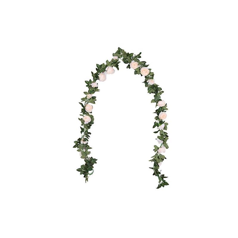 silk flower arrangements duovlo 8.2ft artificial peony flower garland hanging greenery vine silk floral vine home wedding arch wall craft arrangement decorations,pack of 2 (champagne)
