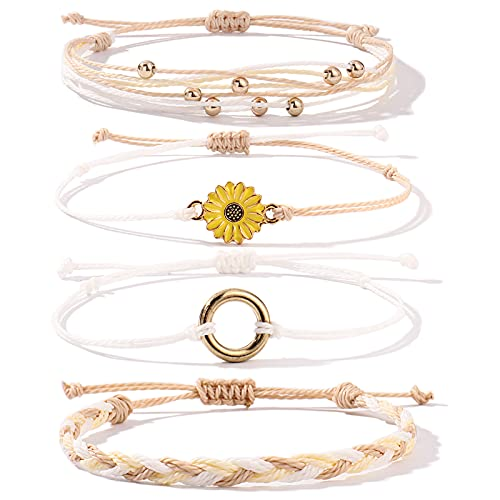 FANCY SHINY Sunflower String Bracelet Handmade Braided Rope Charms Boho Surfer Bracelet for Teen Girls Women(Wheat)