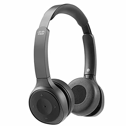 Cisco Headset 730, kabelloses Dual-On-Ear-Bluetooth-Headset mit Etui, USB-A-HD-Bluetooth-Adapter, USB-A- & 3,5-mm-Kabel, Carbon Black, 1 Jahr Garantie mit beschränkter Haftung (HS-WL-730-BUNA-C)
