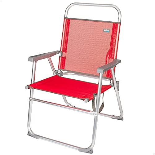 Aktive 53968 - Silla plegable de playa, color rojo, mide 56x50x88 cm, altura del asiento 38 cm, Silla resistente de aluminio, tacos antivuelco, peso máx 100 kg, asa de transporte, Aktive Beach