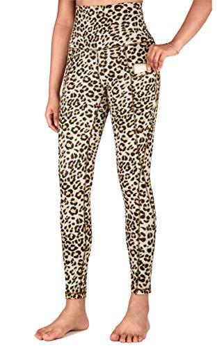 Free Leaper Leggins Push up Donna Fitness Esterno a Moda Sexy a Stampa Leopardo Tights Pantaloni da Yoga Lungo con Tasche (Leopardo, S)