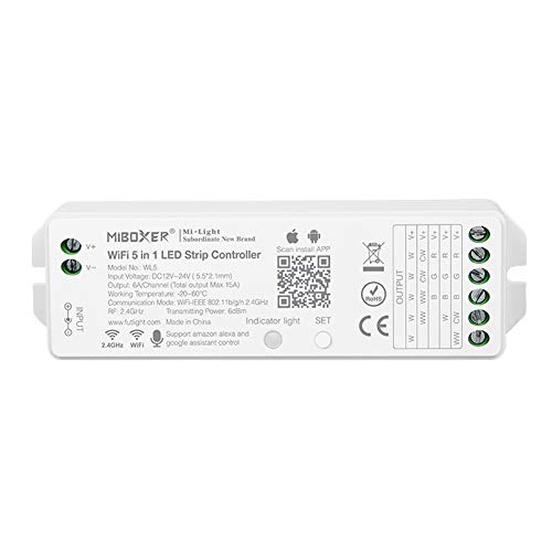 LGIDTECH Miboxer WL5(YL5 VUP) LED Strip Light 5 in 1 Controller for 5050 3528 2835,Smartphone APP Control Without Extra Hub.Amazon Alexa Google Home Assistant Voice Control,DC12-24V,180W-360W