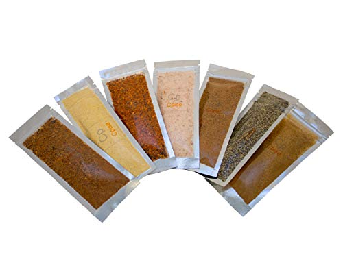 Cpise Organic Camping / RV Spice Kit- 7 Organic Campfire & Grilling Spices: Salt, Black Pepper, BBQ Rub, Cajun Seasoning, Cinnamon Sugar, Garlic & Onion Spice Blend, Montreal Steak Seasoning