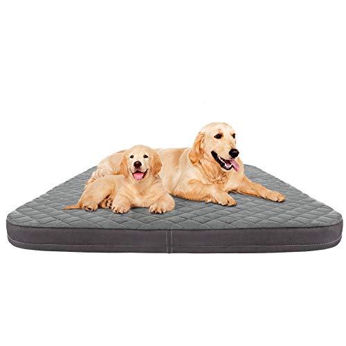 JoicyCo Dog Bed Jumbo Crate Pad Mat Orthopedic Pet Sleeping Beds 39/47 Inch Washable Non Slip Cushion Mattress Grey XL Beds