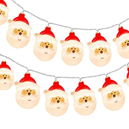 KOTONAMI Decorazioni Natalizie Luci, Babbo Natale LED Luci Batteria, 9.8ft 20 LED Luci di Fata Batteria Powered Luci decorative per Albero Natale Capodanno Balcone Festa Matrimonio, Bianco Caldo