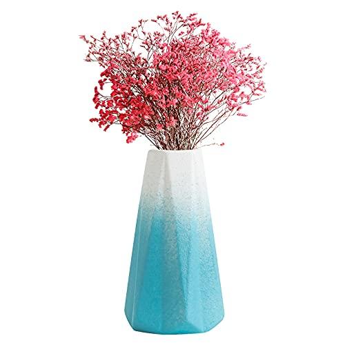 Floreros de cerámica, jarrones de cerámica modernos Florero de diseño de diamantes Florero decorativo geométrico para decoración del hogar, baño, sala de estar, mesa, adorno de oficina Blue