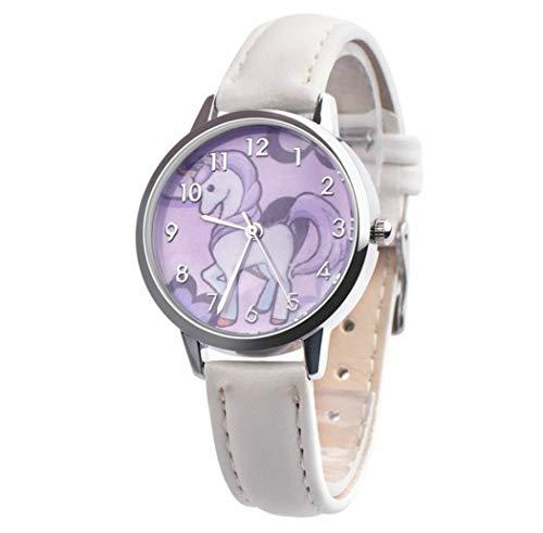Einhorn-Armbanduhr, Armband aus Leder, weiß, Figur, Einhorn, Halskette Einhorn