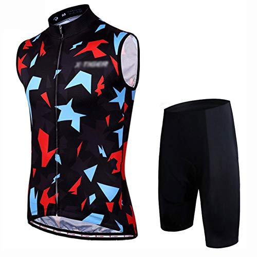 YXX Ropa Ciclismo MTB Verano para Hombre - Un Conjunto De Ciclismo Jersey Sin Mangas Maillot Ciclismo Hombre+Bib Culotte Ciclismo Culote Bicicleta,Negro,L