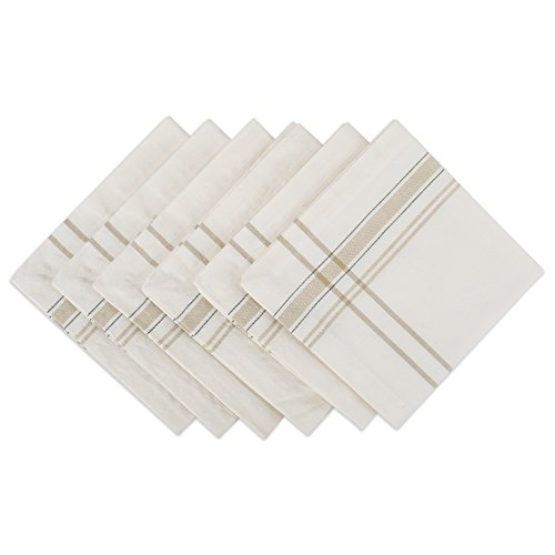 DII 100% Cotton Everyday French Stripe Tabletop Collection, Napkin Set, White Chambray 6 Count