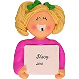 Lost A Tooth Personalized Christmas Ornament - Girl - Blonde Hair - Handpainted Resin - 3' Tall - Free Customization by Calliope Designs