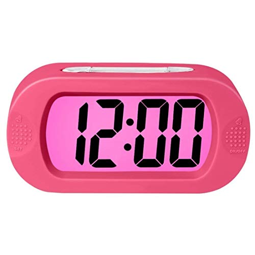 Digital Wecker Tischuhr mit Silikonhülle Snooze,Simple Setting, Progressive Alarm, Battery Operated, Shockproof, The Ideal Gift Clock For Kids Convenient,Rosa