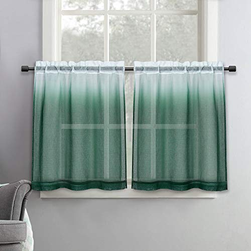 SeeGlee 30 Inch Length Ombre Tier Curtains Faux Linen Shee Short Curtains - 2 Panels Emerald Green Small Sheer Curtains for Cafe Kitchen Basement Bathroom,30 Inches Wide by 30 Inches Long