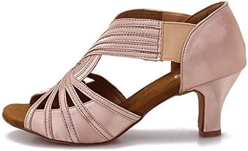 YYTing Zapatos de Baile de Salón Mujeres Salsa Latina Bailarina Zapatos de Baile 6 cm Tacones YT02