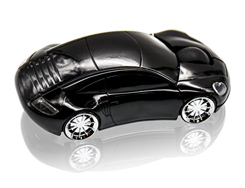 JLER Sport Car Wireless Mouse Optical Mouse Mice Ergonomic Design for PC Laptop (Black)