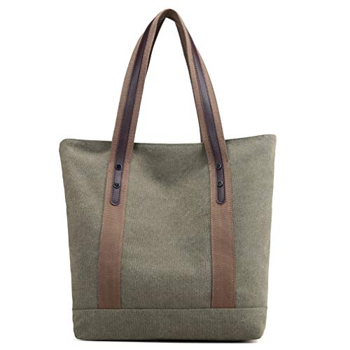 Women's Handbags Canvas Shoulder Bags Men Retro Casual Tote Work Purses (Army Green)