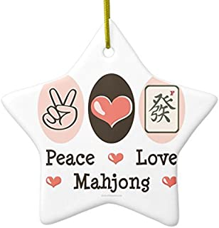 Leiacikl22 Peace Love Mahjong Ornament Star Christmas Ornament Xmas Tree