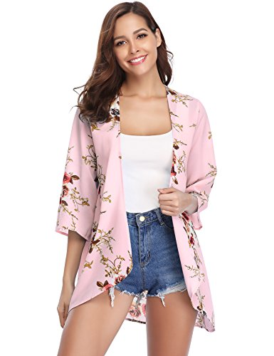 Abollria Damen Chiffon Kimono Cardigan Blumen Print 3/4 Arm Sommer Cover up Leichte Jacke Strand