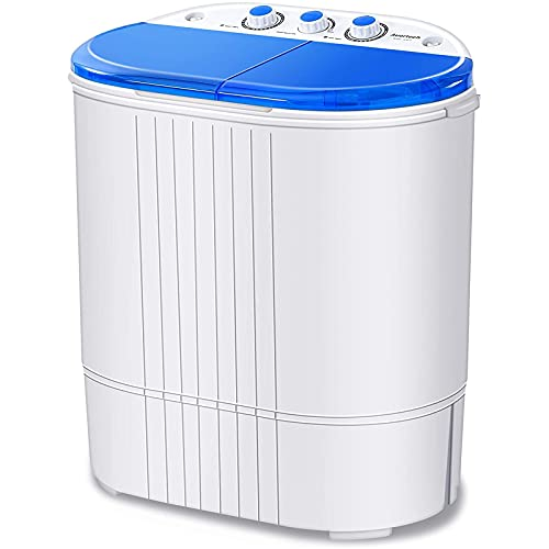 Auertech Portable Washing Machine, 20lbs Mini Twin Tub Washer Compact Laundry Machine Dryer with Built-in Gravity Drain Time Control, 12lbs Washer 8lbs Spinner for Dorms, Apartments, RVs