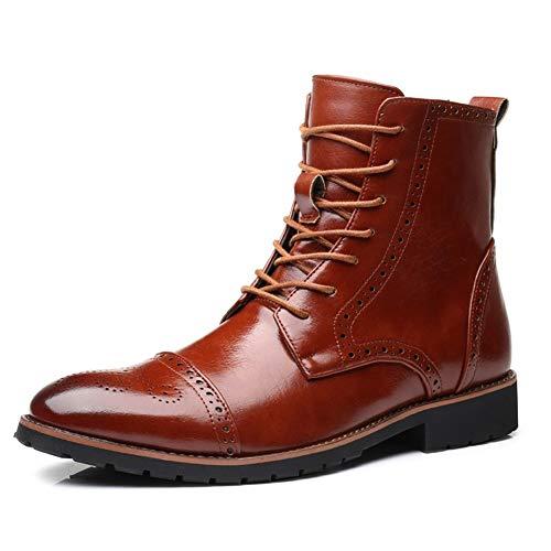 Heren Enkellaarzen Oxfords Derby Schoenen Voor Heren Klassieke Carving Brogue Laarzen Rijlaarzen Hoge Top Lace Up PU Lederen Wingtip Gepolijst Stijl Steek Slijtvast Mode Laarzen