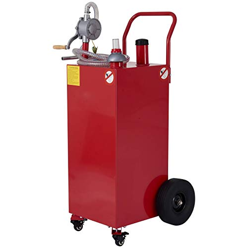 CO-Z 30 Gallon Fuel Tank on Casters & Wheels, Portable Gas Caddy with Fuel Transfer Pump & Hose, Heavy-Duty Gasoline Diesel Fuel Storage Container for Cars, Lawn Mowers, ATVs, Boats, More