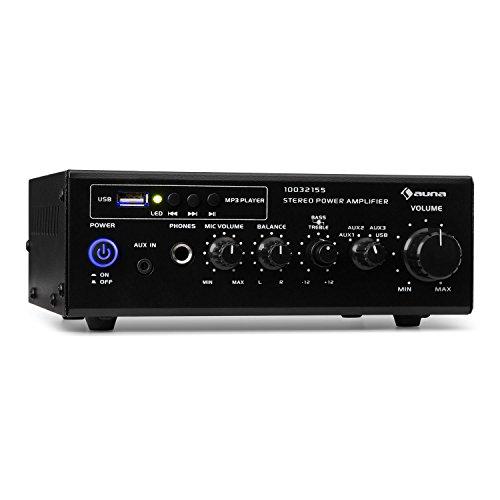 auna Amp3 - Amplificador de Equipo estéreo , Amplificador Hi-fi , Puerto USB , Entradas AUX y de línea , Ecualizador de 2 Bandas , 2 x 6,5 W de Potencia , Tonos Graves y Agudos Regulables , Negro