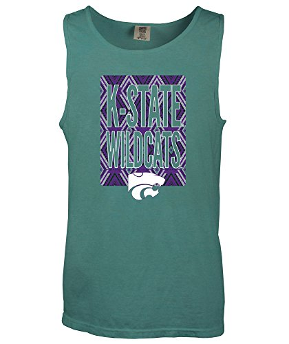 NCAA Kansas State Wildcats Block Pattern Comfort Color Tank Top, Small,Seafoam