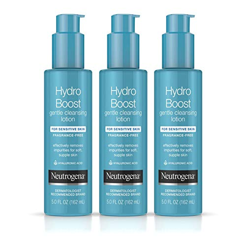 Neutrogena Hydro Boost Gentle Cleansing and Hydrating Face Lotion and Makeup Remover, Oil-Free for Sensitive Skin, 5.0 fl. oz (Pack of 3)