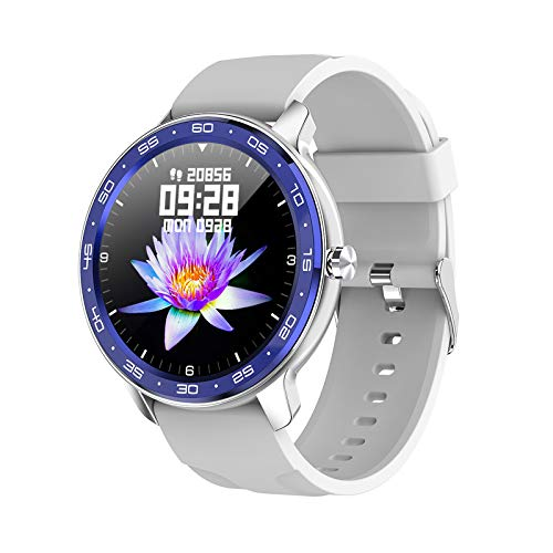 QFSLR Smartwatch Reloj Inteligente Pulsera Actividad Inteligente con Monitor De Frecuencia Cardíaca Monitor De Presión Arterial Monitoreo De Oxígeno En Sangre Seguimiento del Sueño,Blanco