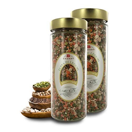 Zuppa di Legumi, Vasetto da 480 Grammi (Confezione da 2 Pezzi)