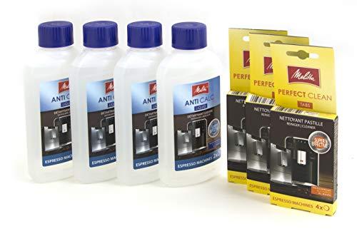 Melitta 7er Pflegeset für Kaffeevollautomaten und Espressomaschinen: 4 x Flüssigentkalker und 3 x Reinigungstabs I für 12 Monate