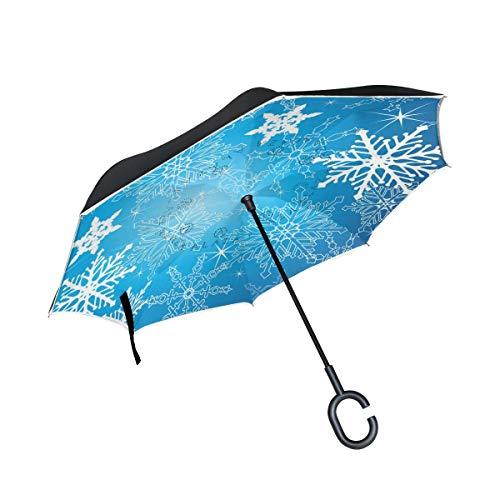 rodde Doble Capa Navidad Invertida Invierno Copos de Nieve Paraguas Paraguas Reversa Resistente al Viento Paraguas de Lluvia para el automóvil al Aire Libre con Mango en Forma de C