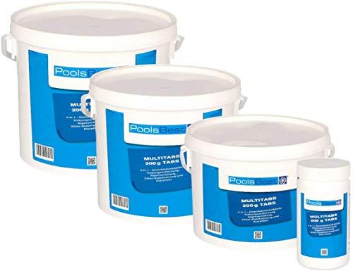 POOLSBEST® 5 kg Chlor Multitabs 5 in 1 200 g Chlortabletten für Pool - Chlor wirkt schnell gegen Bakterien, Pilze und Viren im Pool