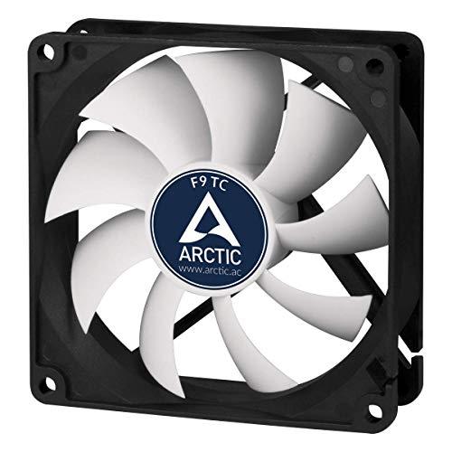 ARCTIC F9 TC - Temperaturgesteuerter 92 mm Gehäuselüfter, Standard Case Fan, Temperatursensor reguliert RPM, Push- oder Pull-Konfiguration, 400-1800 U/min. - Schwarz/weiß
