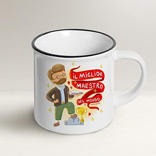 Mug Lover – Miglior Maestro del Mondo – Tazza idea regalo con busta e biglietto augurale e sacchettino organza