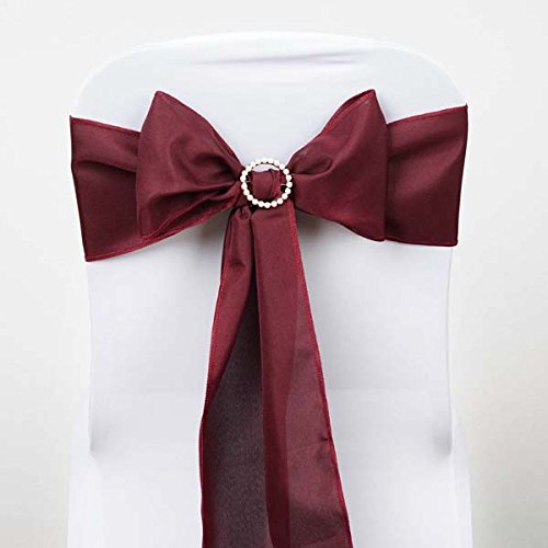 Efavormart 25 PCS Burgundy Polyester Chair Sashes Tie Bows for Wedding Events Decor Chair Bow Sash Party Decor Supplies - 6x108