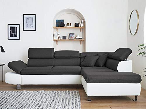 Lisa Design - Nairobi - Canapé d'angle Convertible - en Simili et Tissu - 5 Places - avec têtières - Droit