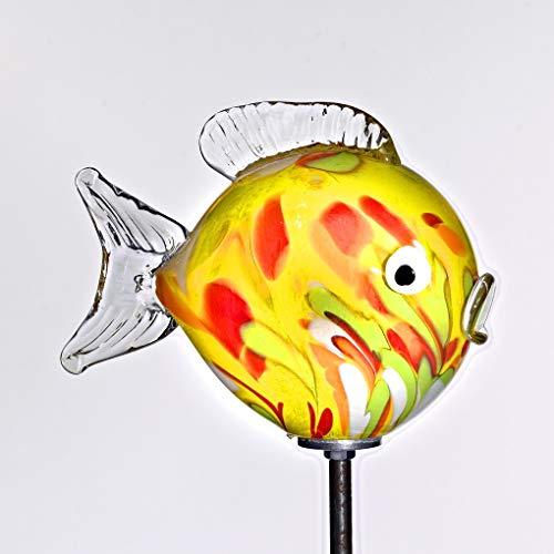 Cristalica Kugelfisch Glasfisch Gartenteich Deko Glas Mundgeblasen Gelb 17,5 cm inkl. Stab