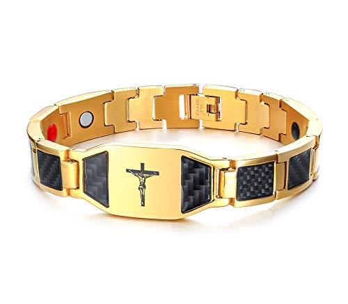 XUANPAI Catholic Jesus Christ on INRI Cross Crucifix Magnetic Therapy Health Bracelet Balance Carbon Fiber Wristband,Gold