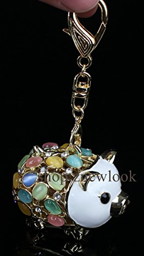 Novelty Fashion Rhinestone Alloy Crystal Animal Cap Pig Key Chains Key Ring Holder Trinket Gift Souvenir for Women Girl