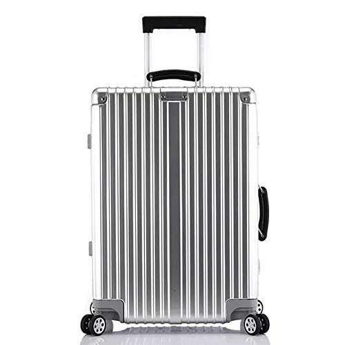Mdsfe 20'24' 26'29' inch 100% aluminum spinner retro travel suitcase brand trolley rolling luggage for traveling - Silver, 26'