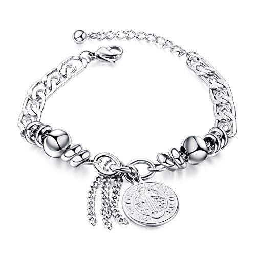 Stainless Steel Cross Saint Benedict Coin Charm Bracelet for Women Catholic Exorcism Protection Jewelry